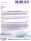 Membrane WRAS England Certificate